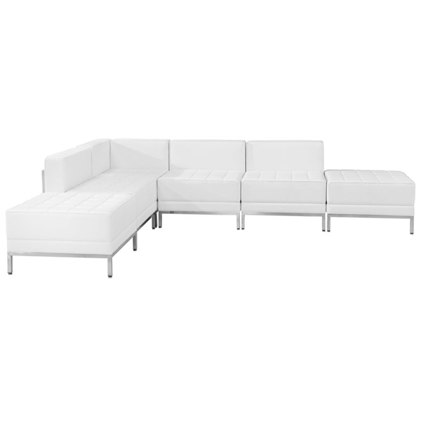 Hercules Imagination White Leather Steel 6pc Sectional Configuration FLF-ZB-IMAG-WHT-SEC8
