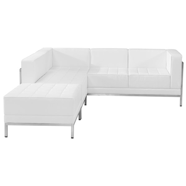 Hercules Imagination Series White Leather 3pc Sectional Configuration FLF-ZB-IMAG-WHT-SEC9