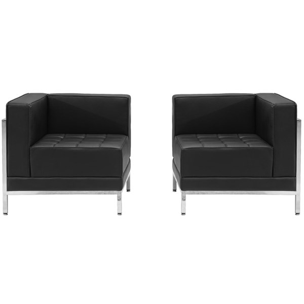 Hercules Imagination Series Black Leather Steel L&R Corner Chairs FLF-ZB-IMAG-BLK-SEC18