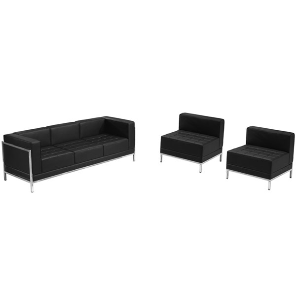 Flash Furniture Hercules Imagination Black Leather Steel Sofa and Chair Set FLF-ZB-IMAG-BLK-SEC21