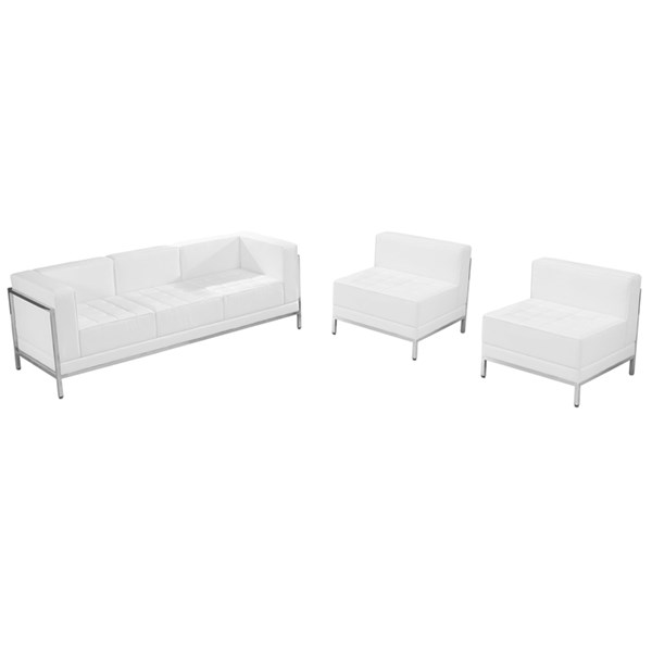 Flash Furniture Hercules Imagination White Leather Steel Sofa and Chair Set FLF-ZB-IMAG-WHT-SEC21