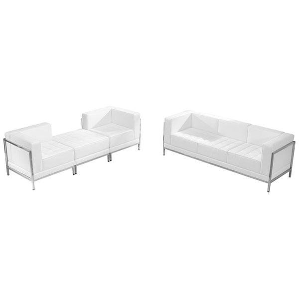 Hercules Imagination Series White Leather 4pc Sofa & Lounge Chair Set FLF-ZB-IMAG-WHT-SEC22