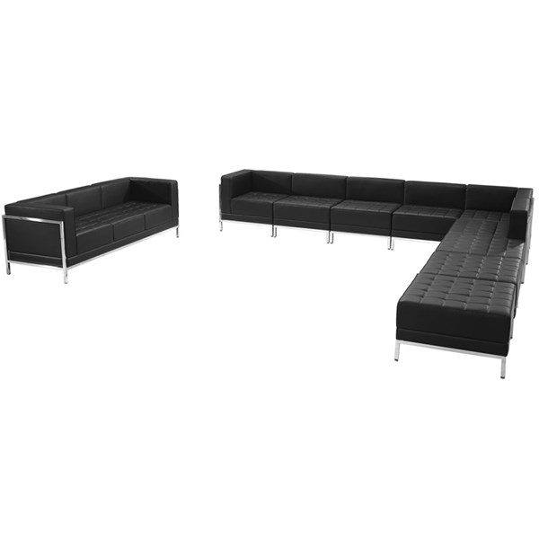 Hercules Imagination Series Leather 10pc Sectional & Sofa Set FLF-ZB-IMAG-BLK-SEC26-SEC-VAR