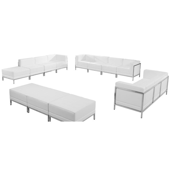 Hercules Imagination Series White Leather 12pc Sectional FLF-ZB-IMAG-WHT-SEC28