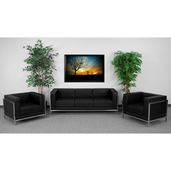Hercules Imagination Black Leather Stainless Steel Sofa & Chair Set FLF-ZB-IMAG-BLK-LR-S3