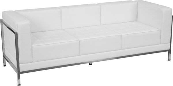 Hercules Imagination Contemporary White Leather Encasing Frame Sofa FLF-ZB-IMAG-SOFA-WH-GG