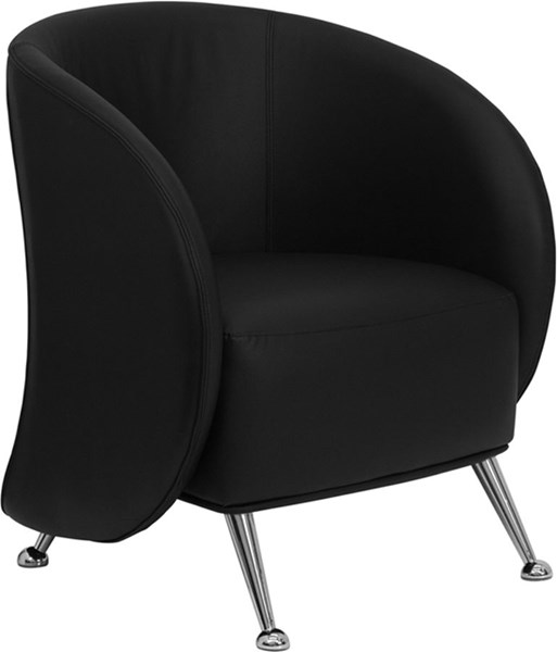 HERCULES Jet Series Black Leather Reception Chair FLF-ZB-JET-855-BLACK-GG
