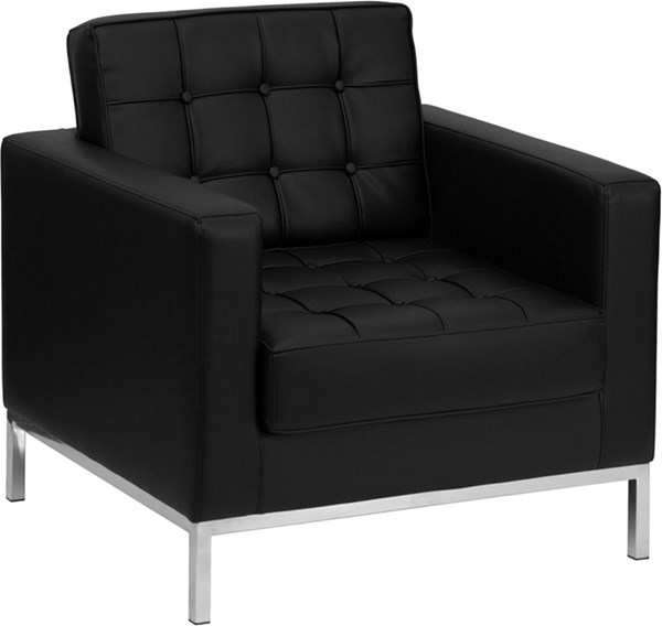 Hercules Lacey Black Bonded Leather Stainless Steel Frame Chair FLF-ZB-LACEY-831-2-CHAIR-BK-GG