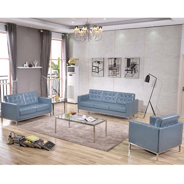 Hercules Lacey Stainless Steel Frame Bonded Leather Living Room Set FLF-ZB-LACEY-831