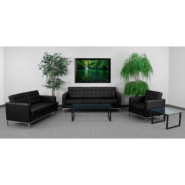 Hercules Lacey Black Bonded Leather Steel 3pc Living Room Set FLF-ZB-LACEY-831-set