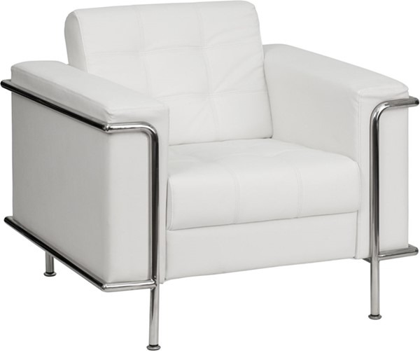 Hercules Lesley Contemporary White Leather Encasing Frame Chair FLF-ZB-LESLEY-8090-CHAIR-WH-GG