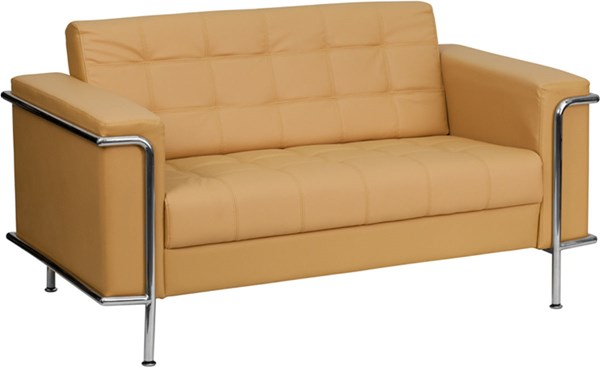 Hercules Lesley Contemporary Brown Leather Encasing Frame Loveseat FLF-ZB-LESLEY-8090-LS-BRN-GG