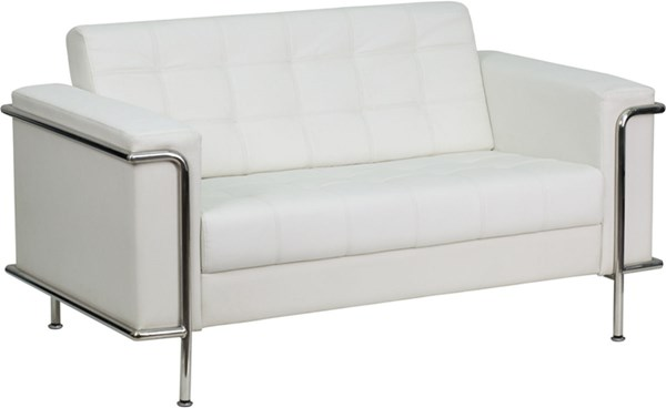 Hercules Lesley Contemporary White Leather Encasing Frame Loveseat FLF-ZB-LESLEY-8090-LS-WH-GG