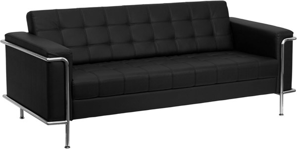 Hercules Lesley Series Contemporary Black Leather Encasing Frame Sofa FLF-ZB-LESLEY-8090-SOFA-BK-GG