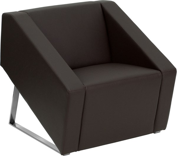 Hercules Smart Series Modern Brown Leather Steel Reception Chair FLF-ZB-SMART-BROWN-GG