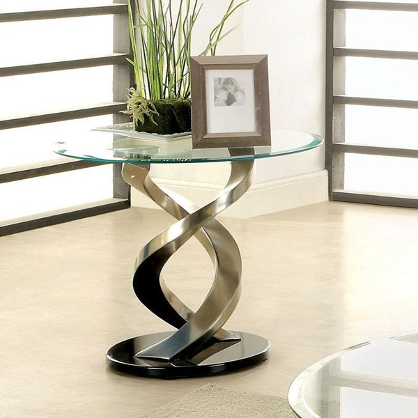 Furniture of America Nova Satin Plated Black End Table FOA-CM4729E