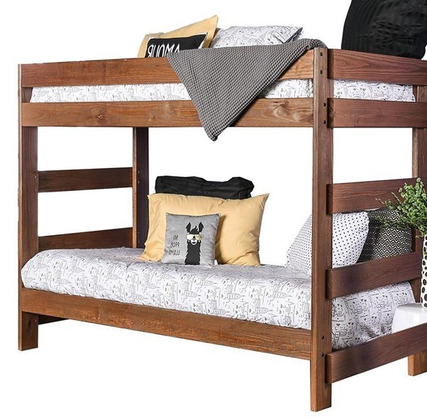 Furniture of America Arlette Twin over Twin Bunk Bed with 2 Slat Kits FOA-AM-BK100-BED-SLAT