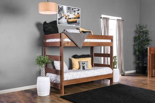 Furniture Of America Arlette Mahogany Twin over Twin Bunk Bed FOA-AM-BK100-BED