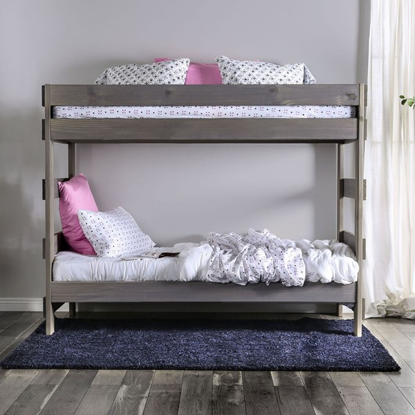 Furniture Of America Arlette Gray Twin Over Twin Bunk Bed FOA-AM-BK100GY-BED