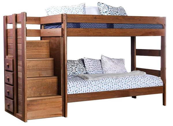 Furniture Of America Ampelios Twin Over Twin Bunk Bed With 2 Slat Kits FOA-AM-BK102-BED-SLAT