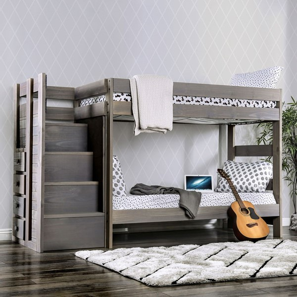 Furniture Of America Ampelios Gray Twin Over Twin Bunk Bed FOA-AM-BK102GY-BED