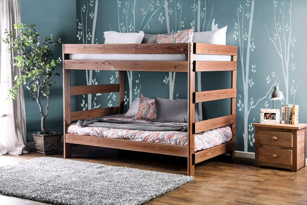 Furniture of America Arlette Full over Full Bunk Bed with 2 Slat Kits FOA-AM-BK200-BED-SLAT