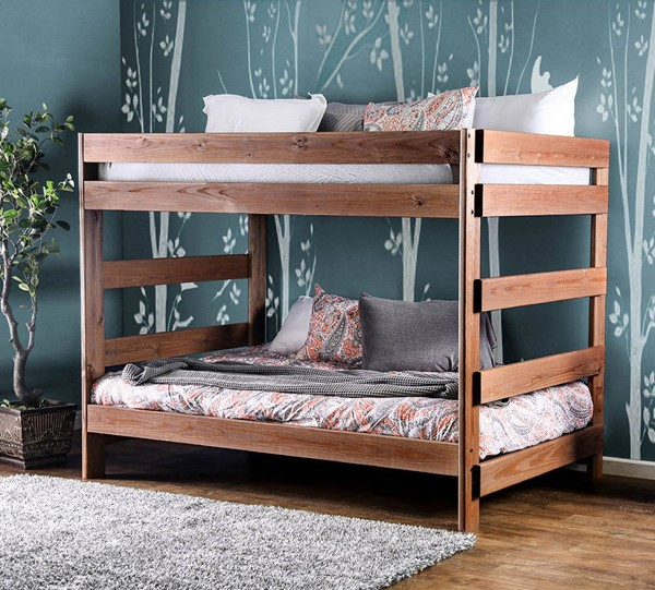 Furniture Of America Arlette Mahogany Full over Full Bunk Bed FOA-AM-BK200-BED