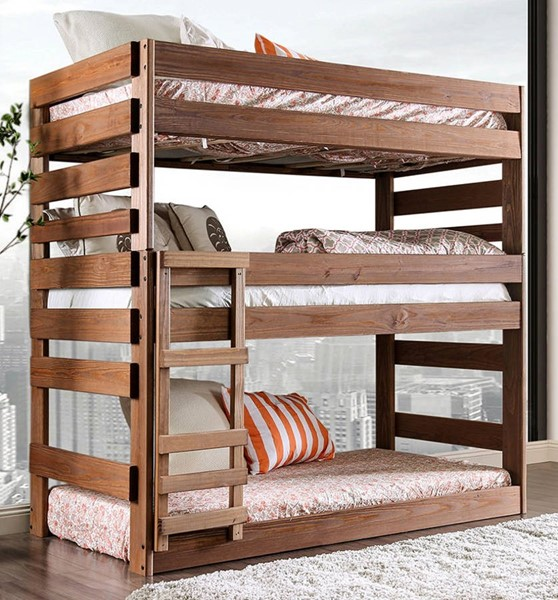 Furniture of America Pollyanna Mahogany Twin Triple Decker Bed FOA-AM-BK500-BED