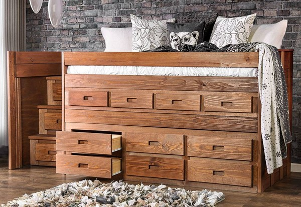 Furniture of America Cleo Mahogany Twin Captain Bed FOA-AM-BK601-BED