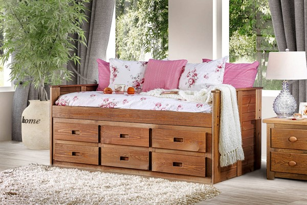 Furniture of America Lia Mahogany Twin Captain Bed FOA-AM-BK602-BED