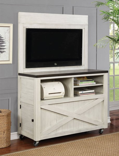 Furniture of America Kenmore Antique White Kiosk stand with Wheels FOA-CM-AC539