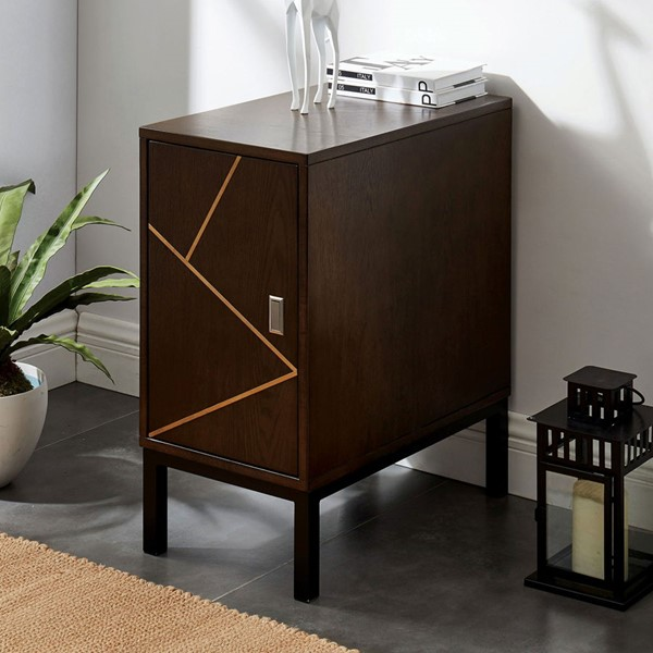 Furniture Of America Agar II Light Walnut Black Side Table FOA-CM-AC598