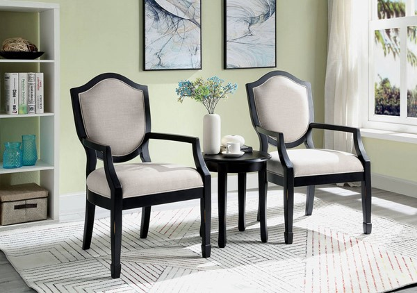 Furniture Of America Emma Black Accent Table And Chair