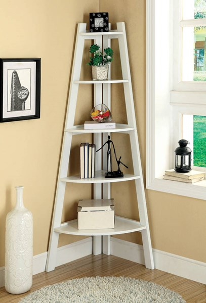 Furniture of America Lyss White Ladder Shelf FOA-CM-AC6214WH