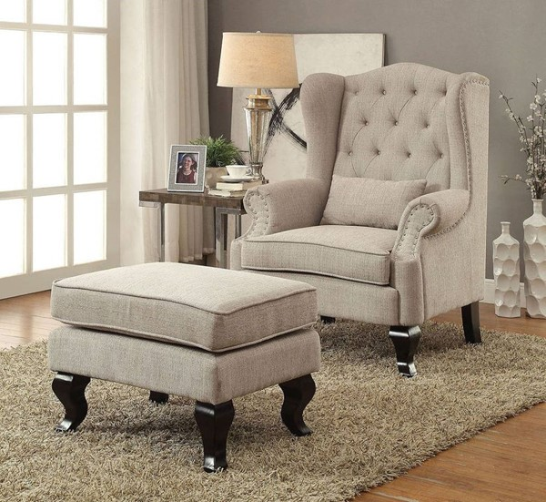 Furniture Of America Willow Beige 2pc Chair and Ottoman Set FOA-CM-AC6271BG-S1