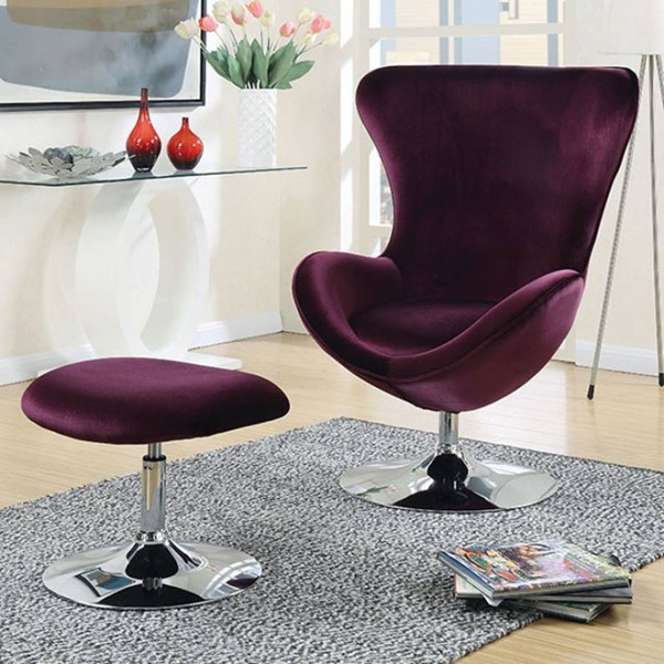 Furniture of America Eloise Accent Chair and Ottoman Set FOA-CM-AC6841