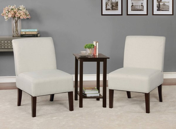 Furniture of America Elias Beige Accent Chair and Table Set FOA-CM-AC6931BG