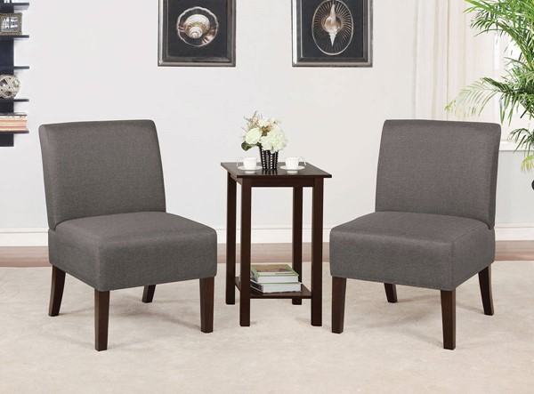 Furniture of America Elias Dark Gray Accent Chair and Table Set FOA-CM-AC6931DG