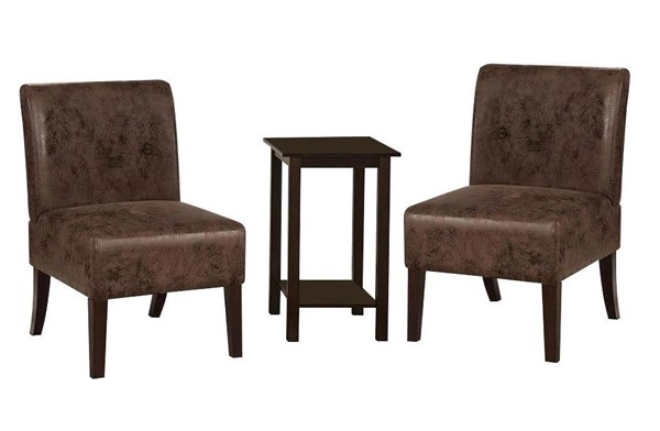 Furniture of America Elias Brown Accent Chair and Table Set FOA-CM-AC6931LBR