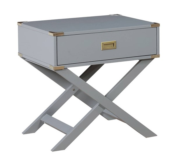 Furniture of America Goodyear Gray Side Table FOA-CM-AC801GY