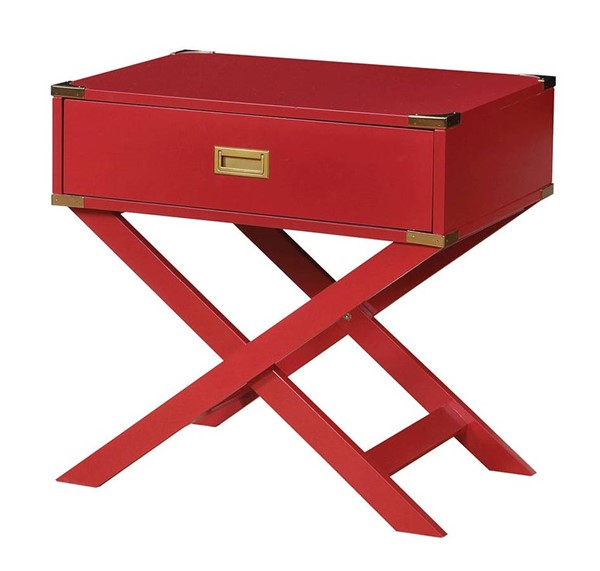 Furniture of America Goodyear Red Side Table FOA-CM-AC801RD