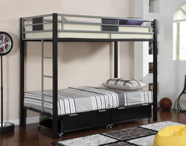 Furniture of America Clifton Drawers and Storage Ladder Bunk Beds FOA-CM-BK102-DR-STL-BBED-VAR