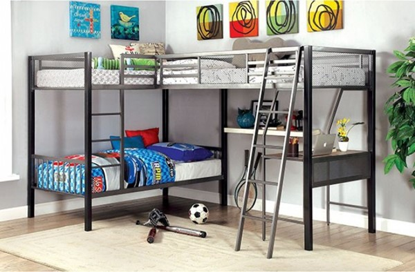 Furniture of America Ballarat Triple Twin Bunk Bed with Desk FOA-CM-BK1049