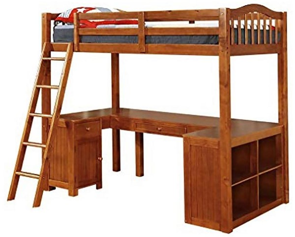Furniture of America Dutton Oak Twin Loft Bed with Workstation FOA-CM-BK265A-BED