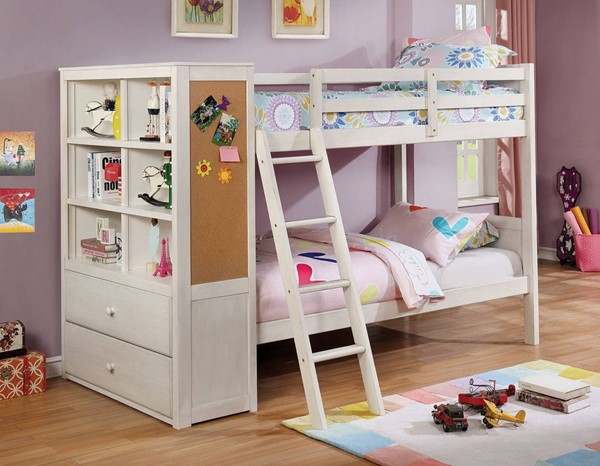 Furniture of America Athena White Twin over Twin Bookcase Bunk Bed FOA-CM-BK266WH-BED