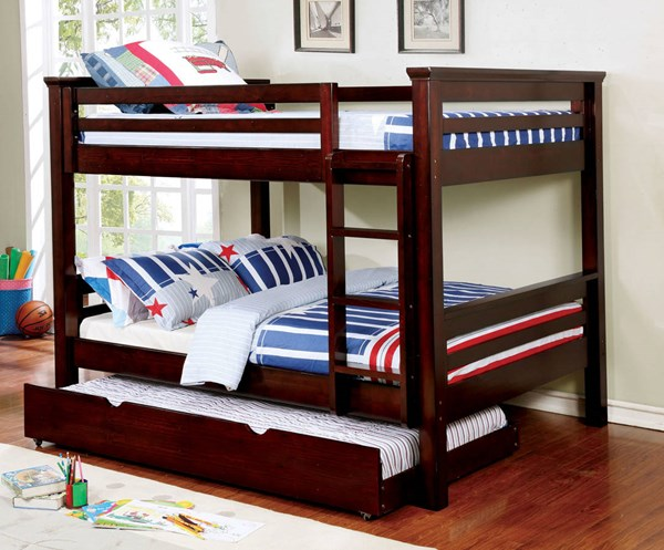 Furniture of America Marcie Dark Walnut Trundle Bunk Beds FOA-CM-BK450-TR452-EXP-BED-VAR