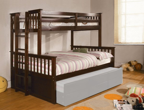 Furniture of America University I Dark Walnut Twin Over Full Bunk Bed FOA-CM-BK458F-EXP-BED