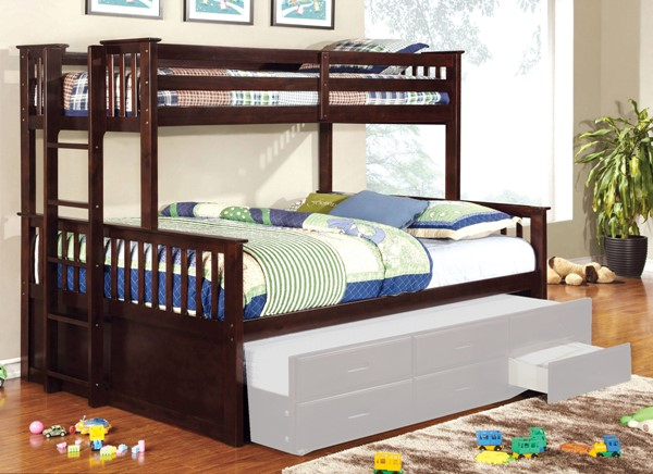 Furniture Of America University Dark Walnut Twin XL Over Queen Bunk Bed FOA-CM-BK458Q-EXP-BED