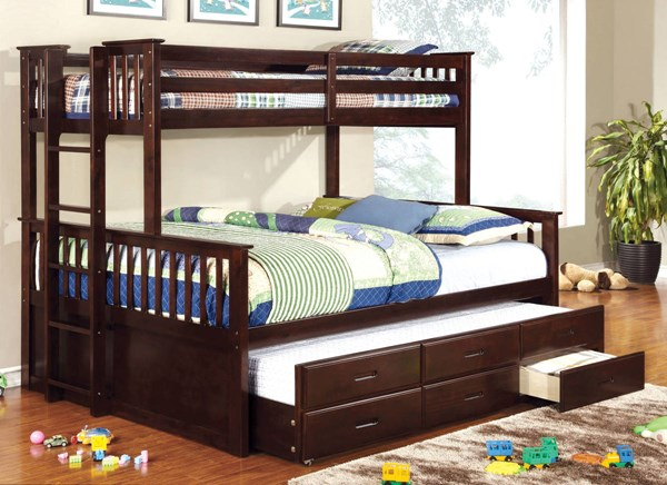 Furniture of America University Trundle Bunk Beds FOA-CM-BK458Q-BB-S-VAR