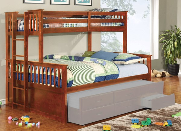 Furniture Of America University Oak Twin XL Over Queen Bunk Bed FOA-CM-BK458Q-OAK-BED